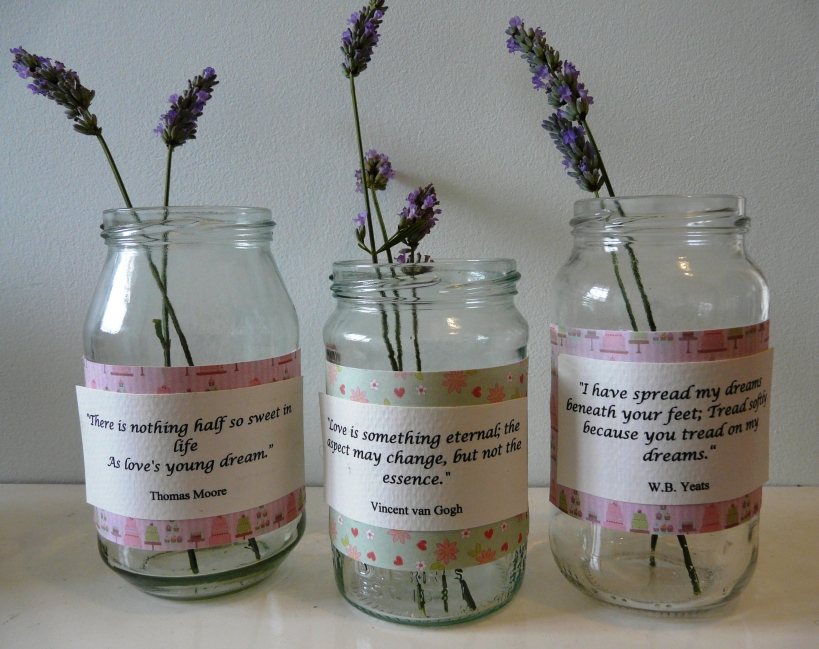 vintage jars, wedding vases with lavender in